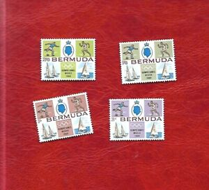 4 Bermuda stamps 1968 Olympics, Football, Sailing, Athletics images