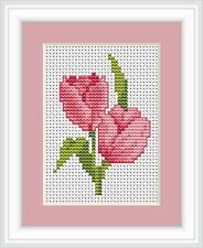 TULIPE Kit pour point de croix rose
