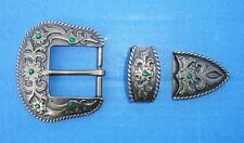"Western Cowboy/Cowgirl Decoament Crystal Brass Plated 1 1/2"" Buckle Set Bling"