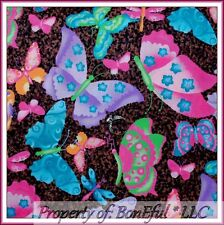BonEful Fabric FQ Cotton Quilt Brown Pink Purple Leopard Butterfly Africa Flower