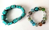 Two Vibrant Bracelets, marble glass and foil glass, elasticated bangles #69