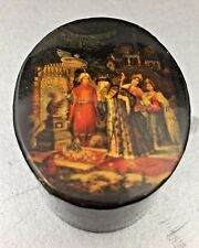 Vintage Small Russian Black Lacquer Box Oval Fairy Tale