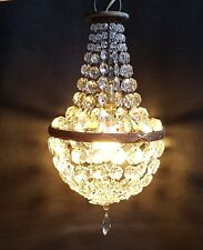 ANTIQUE CRYSTAL GLASS TENT & BAG CHANDELIER CEILING LIGHT PRISM CUT GLASS BEADS