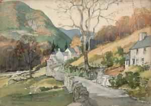 WALTER THOMAS (1894-1971) Watercolour Painting LANDSCAPE COMMINS COCH WALES 1944