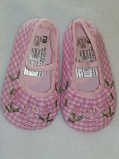 MOTHERCARE BABY GIRL'S PINK CHECKED BALLET CRIB SHOES SIZE 3 (UP TO 12 MONTHS)