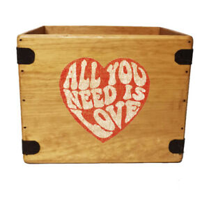 Love Record Box Vintage Wooden Album Crate 12 Inch LP Vinyl All You Need Is Love