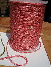 15m X 6mm RED & WHITE DOUBLE BRAID POLYESTER YACHT MARINE & SAILING ROPE -- NEW