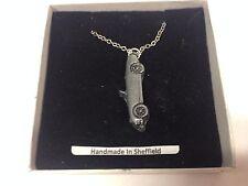 "Austin Healey Frog Eyed  ref16 Car Emblem on Silver Platinum Plated Necklace 18"""