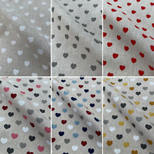 Love Hearts Romance Print Cotton Rich Linen Fabric for Upholstery Crafts Curtain