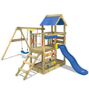 WICKEY Aire de jeux Portique bois TurboFlyer avec balançoire et toboggan bleu