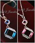 Pink/Blue Crystal Pendant Necklace/RGN037/075