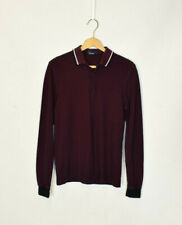 Vintage Fred Perry Burgundy Long Sleeve Polo Top Small