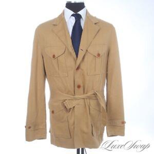 #1 MENSWEAR Vintage Polo Ralph Lauren Safari Tan Belted Linen Mix Field Coat M