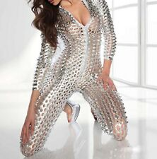 Sexy Liquid Metal Look Silver See Through Catsuit Jumpsuit Long Sleeves