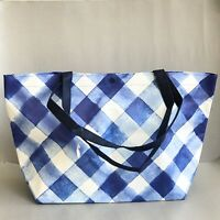 BATH & BODY WORKS Blue GINGHAM Shopping Bag TOTE LARGE VIP Shoulder Handbag LOVE