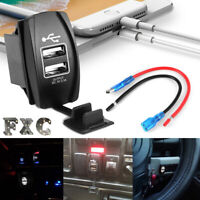 Waterproof White LED Charger Carling ARB Rocker Switch Dual USB Power CAR Boat