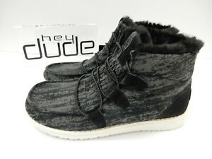 Hey Dude Womens Lea Fur Black 8