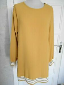 TUNIQUE JAUNE MOUTARDE BAS TRICOT RAYURES+BAS MANCHES KOLL TAILLE L/XL NEUVE