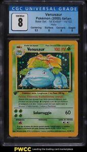 2000 Pokemon Italian Base Set 1st Edition Holo Venusaur #15 CGC 8 NM-MT