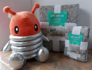 Pillowfort Heathered  Rocket Space Stitch TWIN Quilt Sham Set ~ NEW Gray