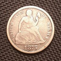 1875 P Seated Liberty Dime - Fine F