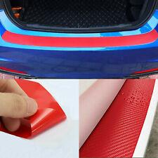 3D Carbon Fiber Car Rear Bumper Trunk Tail Lip Protect Decal Red Sticker