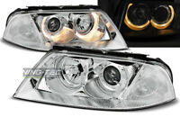 Coppia di Fari Anteriori per VW PASSAT 3BG B5 FL 2000-2005 Angel Eyes Cromati IT