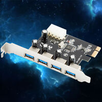 4Port PCI-E to USB 3.0 HUB PCI Express Expansion Card Adapter 5Gbps 4pin powerLD