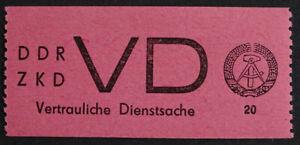 DDR Dienst, Nr. 2 - 20 Pfg. schwarz a. hellrosa tadellos **. Mi. 2.800,- €