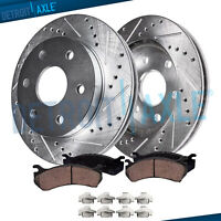 FRONT DRILLED Brake Rotors Ceramic Pads 2003-2008 Chevy GMC Express Savana 1500