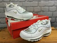 NIKE LADIES AIR MAX 98 WHITE SILVER GOLD MESH LEATHER TRAINERS RRP £145 T