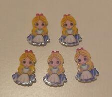 5pc Disney Alice Wonderland Bow Centre Resin Flatback Embellishment 25x12mm