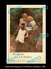 POSTCARD SIZE PHOTO OF KODAK CAMERA ADVERTISING POSTER WITCHERY OF KODAK c1900