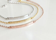 Airy Dainty GPS Coordinate Gold Silver Rose Gold-plated Bar Bridesmaid Bracelet