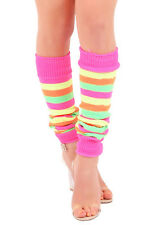 Girls Teen 80's Dance Plain Ribbed Leg Warmers Women Legwarmer Fancy Dress Tutu Florescent Rainbow Stripe
