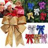 5x Christmas Glitter Bows Bowknot Door Window Wreath Tree Topper Xmas Decoration