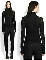 ANN DEMEULEMEESTER Black Open Knit Roll Neck Sweater with Thumbholes 38 US 6 NEW