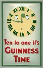 Reloj de Guinness en relieve 3D Metal Pub Bar irlandés con licencia Firmar Placa Vintage