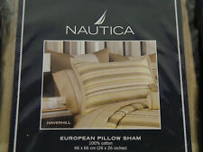 New Nautica Haverhill European Euro Pillow Sham Queen King Bed Cotton Yellow