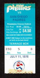 1976 Philadelphia Phillies vs San Diego Padres Ticket Stub 7/11 Seat 8