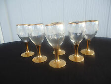 6 vintage retro gold stem glasses sherry port liqueur