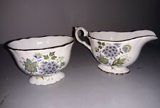 James Kent Old Foley milk jug and  sugar bowl floral design gold rim