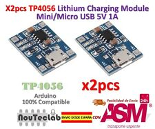 2pcs TP4056 1A 5V Lithium Battery Charging Module Mini/Micro USB Interface