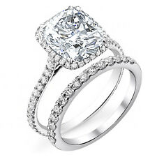 3.11ct Cushion Halo Pave Diamond Bridal Set - GIA Certified