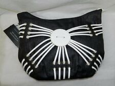 BODHI NWT Black/White Leather Weaved Trim Bahamas Shoulder Bag Purse Medium