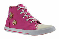 Girls Kids Infants Zip Up Hi Top Casual Summer Canvas Trainers Pumps Shoes Size
