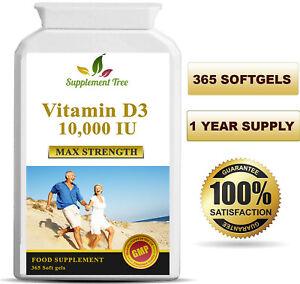 Vitamin D3 10000iu 365 Soft Gel capsules High Strength Vitamin D 10,000iu Vit d