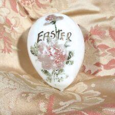 Vintage Milk Glass Easter Egg, Hand Blown, Flowers