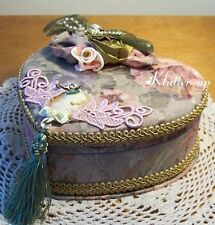 Victorian Vintage Chic Shabby HEART JEWELY BOX CAMEO