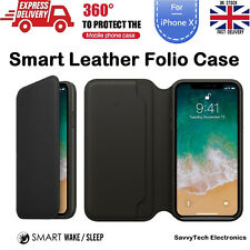 For iPhone X 10 Sleep & Wake Leather Folio Flip Cover Case Wallet Protective
